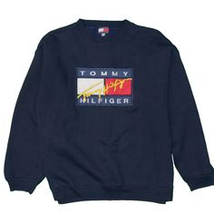 d6a68690 Tommy Hilfiger Men's XL Sweatshirt Vintage Embroidered Tommy Flag Spell Out  90's