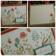 Thank You Card with Stampin Up Flowering Fields Stamp Set