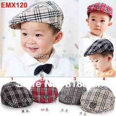 Free shipping High Quality 2014 Spring and Autumn Kids Fashion Berets Plaid Hats For Baby Boys Girls Peaked Baseball Beret Cap