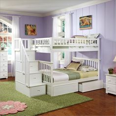 full over full bunk beds | Columbia Staircase Bunk Bed Full Over Full with 2 Flat Panel Bed ...
