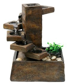 "Features: - 9""L x 8""W x 11""H - Made of Resin - Look of aged stone - Pump and all necessary parts included - Cascading Stream Description: Let the tranquil sound of natural flowing water produced by th"