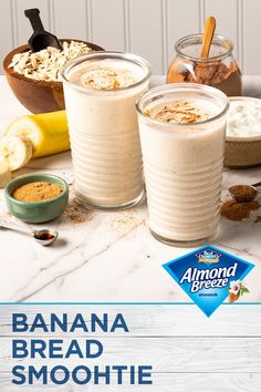 Almond Breeze's all new Almondmilk Blended with Real Bananas will solve all of your breakfast cravings. This Banana Bread Smoothie is quick, easy and the perfect option to kick start your morning. No need to bake a loaf of bread when you can blend up this Easy Smoothies, Smoothie Drinks, Fruit Smoothies, Smoothie Recipes, Detox Smoothies, Protein Smoothies, Healthy Protein, Protein Snacks, Breakfast Smoothies
