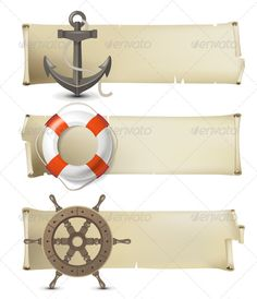 Sea Banners  #GraphicRiver         Retro-styled sea banners. AI CS3 and EPS 10.0 included.     Created: 30April13 GraphicsFilesIncluded: VectorEPS #AIIllustrator Layered: No MinimumAdobeCSVersion: CS3 Tags: adventure #anchor #banner #design #equipment #fish #helm #icons #journey #lifebelt #nautical #object #old #paper #retro #rope #sailing #sea #set #shiny #ship #sign #symbol #travel #vacations #vector #wheel #wood