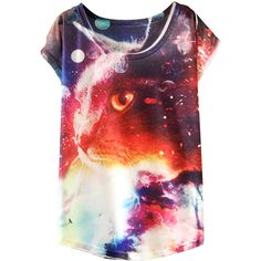 White Ladies Crew Neck Short Sleeve Galaxy Cat Printed T-shirt featuring polyvore, fashion, clothing, tops, t-shirts, shirts, white, cat t shirt, galaxy print t shirt, cat shirt, white crew neck shirt and crewneck t-shirt