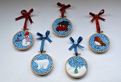 Christmas tree decorations  freemotion embroidery and by DeereyMe