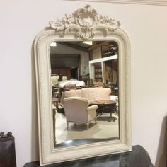 French painted overmantle mirror