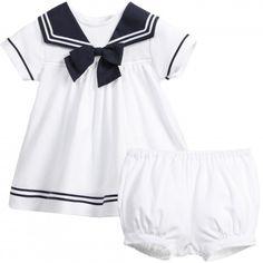 Aletta - White Jersey Baby Sailor Dress with Bloomers   Childrensalon