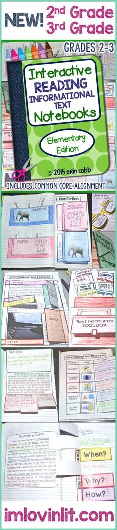 Interactive Reading Informational Text Notebooks for Grades 2-3 by Lovin Lit includes 14 complete, no prep lessons for teaching informational text. Includes original passages for the activities, answer keys, and the templates are editable!