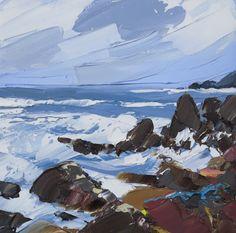 Seascape Paintings, Landscape Paintings, Painters Studio, Palette Knife Painting, Water Art, Mountain Paintings, Cool Landscapes, Beach Art, Abstract Landscape