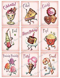 Vintage Cards, Vintage Images, Retro Images, Vintage Artwork, Vintage Illustrations, Birthday Party Images, Birthday Cards, Retro Candy, Making Greeting Cards