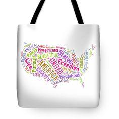 United States Map Art Tote Bag.