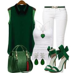 Emerald Green & White Outfit