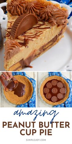 This Peanut Butter Cup Pie recipe has layer upon layer of amazingness! Peanut butter lovers, this peanut butter pie recipe is for you! Make it for someone you love! Cake Mix Cookie Recipes, Cake Mix Cookies, Fun Desserts, Delicious Desserts, Dessert Recipes, Peanut Butter Cup Pie Recipe, Upper Crust, Pie Dessert, How Sweet Eats