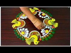 Rangoli for diwali Easy Rangoli Designs Videos, Rangoli Designs Latest, Colorful Rangoli Designs, Rangoli Ideas, Rangoli Designs Diwali, Rangoli Designs Images, Beautiful Rangoli Designs, Lotus Rangoli, Peacock Rangoli
