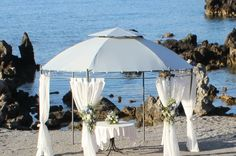 Beautiful Ceremony Beach wedding set-up in Rethymno, Crete. Rethymno Crete, Wedding Set Up, Royal Blue, Gazebo, Outdoor Structures, Events, Patio, Luxury, Beach