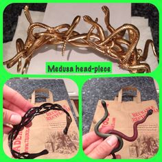 Made from a headband, toy rubber snakes, . Made from a headband, toy rubber snakes, jewelry wire and … Medusa - Diy Halloween Costumes, Halloween Cosplay, Halloween Crafts, Halloween Makeup, Snake Jewelry, Wire Jewelry, Beaded Jewelry, Diy Schmuck, Schmuck Design