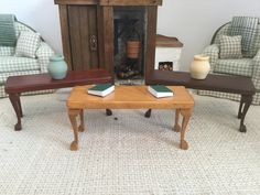 NEW  Coffee Table with Cabriole Legs shown in 3 colors for 1:12 Scale Dollhouse by Trishiesminicorner on Etsy https://www.etsy.com/listing/514909209/new-coffee-table-with-cabriole-legs