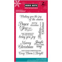 The Hero Arts® Merry Christmas Message Clear Stamps in calligraphic font are ideal to send o...