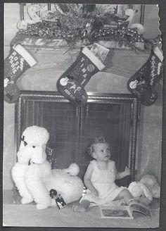 Vintage Photo Baby w/ Poodle Dog Stuffed Animal Toy Christmas & Stockings Old Time Christmas, Ghost Of Christmas Past, Christmas Morning, Christmas Pictures, Christmas And New Year, Christmas Cards, Merry Christmas, Vintage Christmas Photos, Vintage Holiday