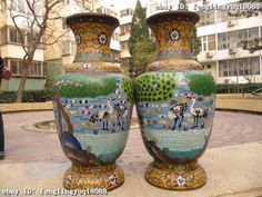 Chinese royal Old Copper cloisonne pine tree red -crowned crane Pot Vase Pair