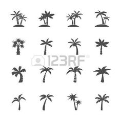 tree vector: coconut tree icon set, vector eps10. Illustration