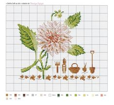 Dahlia Caf+й au lait-V+йronique Enginger Cross Stitch Rose, Cross Stitch Flowers, Cross Stitch Patterns, Dahlia, Butterfly Embroidery, Le Point, Needlepoint, Illustration, Creations