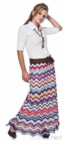 Crochetemoda: Julho 2012 - saia longa vintage colorida - long colourful ripple…