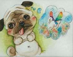 pug painting vintage - Google Search