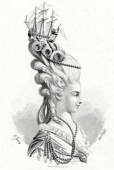 """The rather ostentatious """"Frégate de Junon"""" hairstyle, as sported by Marie Antoinette. © Fiell Image Archive, 2011 There is no hair more iconic, perhaps, than Marie-Antoinette's elaborately curled and beribboned wigs. Her daringly avant-garde style and her 18th Century Fashion, Moda Vintage, Rococo Style, Fashion Plates, Fashion History, Just For You, Artsy, Costumes, Inspiration"""