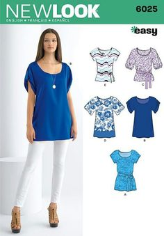 New Look sewing pattern Misses' Tunic or Tops size A Misses' tunic or top with sleeve variations and tie belt. New Look easy sewing pattern. New Look pattern part of New Look Spring 2011 Collection. Pattern for 5 looks. For sizes A Tunic Sewing Patterns, Sewing Blouses, Tunic Pattern, Clothing Patterns, Dress Patterns, Women's Blouses, New Look Patterns, Schneider, Dressmaking