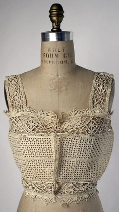 Crocheted lace corset cover, French, 1915-1919.