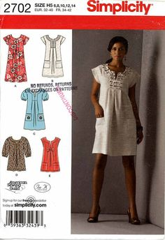 Summer casual dress or tunic sewing pattern Simplicity by HeyChica, $8.99