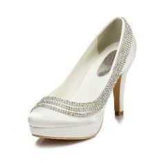 Wedding Shoes - $75.99 - Women's Silk Like Satin Cone Heel Closed Toe Pumps With Rhinestone  http://www.dressfirst.com/Women-S-Silk-Like-Satin-Cone-Heel-Closed-Toe-Pumps-With-Rhinestone-047046356-g46356