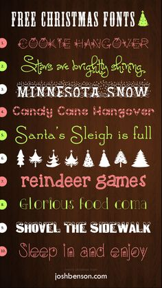 10 free Christmas fonts to spice up your blog, newsletter, email or Word documents.