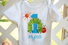 personalized birthday shirt for boy or girl, matches The Very Hungry Caterpillar on Etsy, $20.00