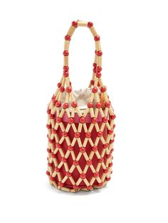 Wai Wai Fefi bamboo and leather bucket bag Leather Pouch, Pink Leather, Cowhide Leather, Real Leather, Beaded Purses, Beaded Bags, Sacs Design, Diy Sac, Designer Wallets