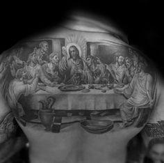50 Upper Back Tattoos For Men - Masculine Ink Design Ideas Tribal Back Tattoos, Upper Back Tattoos, Back Tattoos For Guys, Angel Tattoo Designs, Tattoo Designs Men, The Last Supper Tattoo, Traditional Back Tattoo, Japanese Leg Tattoo, Olive Branch Tattoo