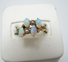Beautiful Vintage Opal and Seed Pearl Ring in 9k Yellow Gold #Birthday