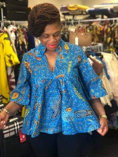 Ankara for big tummy Short African Dresses, African Blouses, Latest African Fashion Dresses, African Print Fashion, Africa Fashion, African American Fashion, Moda Afro, African Tops For Women, African Fashion Traditional