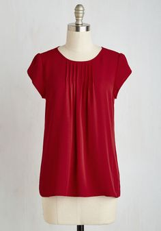 Charmer in Charge Top in Red - Red, Solid, Work, Minimal, Cap Sleeves, Winter, Woven, Good, Scoop, Mid-length, Colorsplash