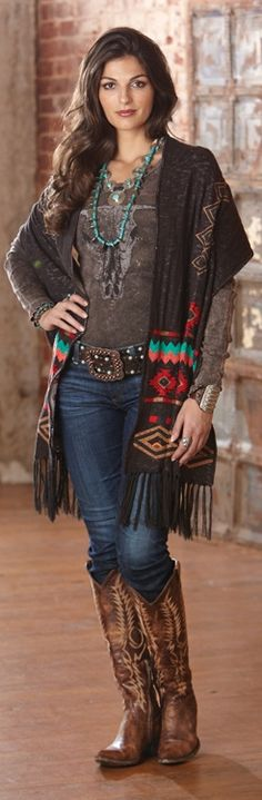 Bohemian style...jeans, boots, southwestern cardigan