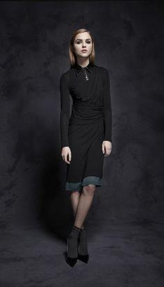 Jennifer Chun - Fall/Winter 2012: Draped Wool Jersey/Leather Dress, Hunter Wool Jersey Slip.
