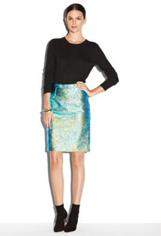 Hologram Leather Pencil Skirt | Spotted on @blaireadiebee