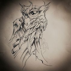 FiNAL drawing by dirtfinger on deviantART owl Tattoo Sketches, Tattoo Drawings, Art Drawings, Tattoo Ink, Owl Tattoo Design, Tattoo Designs, Creative Tattoos, Cool Tattoos, Buho Tattoo