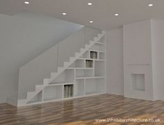 Contemporary storage staircase, with obscured glass handrail. Ideal addition to suit a traditional or contemporary interior Contemporary Stairs, Contemporary Apartment, Contemporary Wallpaper, Contemporary Office, Contemporary Interior Design, Contemporary Architecture, Contemporary Furniture, Contemporary Chandelier, Contemporary Landscape