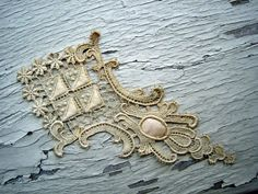 Antique Applique, from an Edwardian Gown, 3 and 1/2 inches at Widest, 6 inches long, listing is for 1 applique