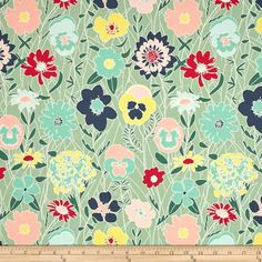 Art Gallery Curiosities Splendiferous Chill from @fabricdotcom  Designed by Jeni Baker for Art Gallery, this cotton print fabric is perfect for quilting, apparel and home decor accents. Art Gallery Fabric features 200 thread count of finely woven cotton. Colors include navy, hot pink, shades of green, mint, blush pink, yellow and light blue.