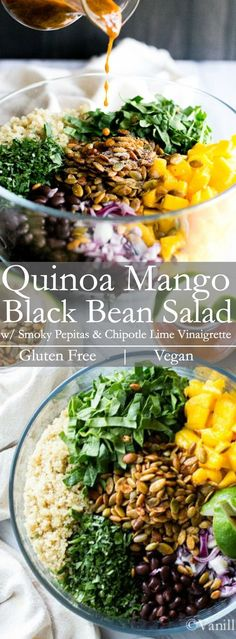 Sweet And Spicy Come Together In This Quinoa Mango Black Bean Salad With Smoky Pepitas And Chipotle Lime Vinaigrette. Ideal For Lunch, Potluck Or Picnic. A Fabulous Meal Prep Salad This Recipe Is Vegetarian, Vegan And Gluten Free Vanillaandbean Healthy Recipes, Veggie Recipes, Lunch Recipes, Whole Food Recipes, Cooking Recipes, Vegetarian Bean Recipes, Bean Salad Recipes, Healthy Bean Salads, Salads For Lunch
