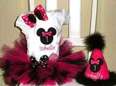 Personalized Minnie Mouse Tutu Set with  Party Hat-