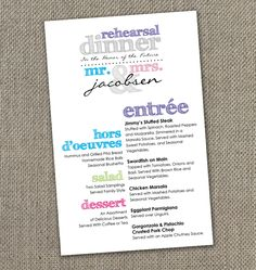 Multi Colored Rehearsal Dinner Menu Instant Wedding Programswedding